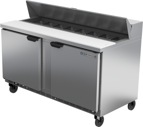 """Beverage Air SPE60HC-16 60"""" W Two-Section Two Door Sandwich Top Refrigerated Counter"""