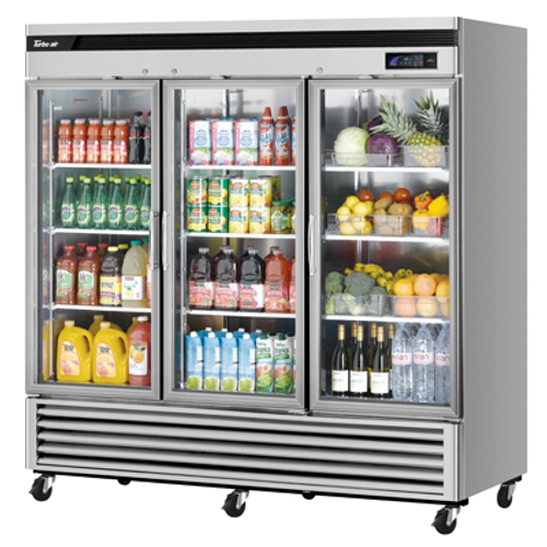 "Turbo Air TSR-72GSD-N 81.88"" W Three-Section Glass Door Super Deluxe Glass Door Refrigerator"
