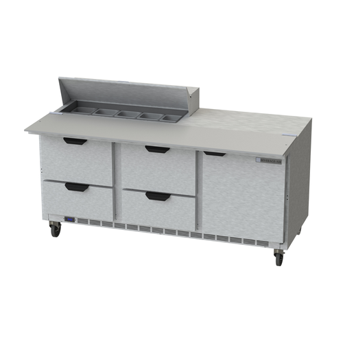 """Beverage Air SPED72HC-10C-4 72"""" W Three-Section One Door Sandwich Top Refrigerated Counter"""