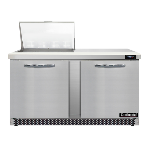 """Continental Refrigerator D60N12M-FB 60"""" W Two-Section Two Door Designer Line Mighty Top Sandwich Unit"""