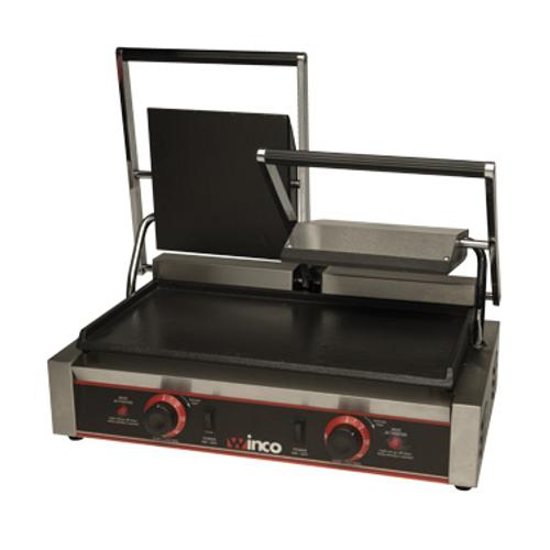"Winco ESG-2 19"" Electric Countertop Double Sandwich Grill - 120 Volts"