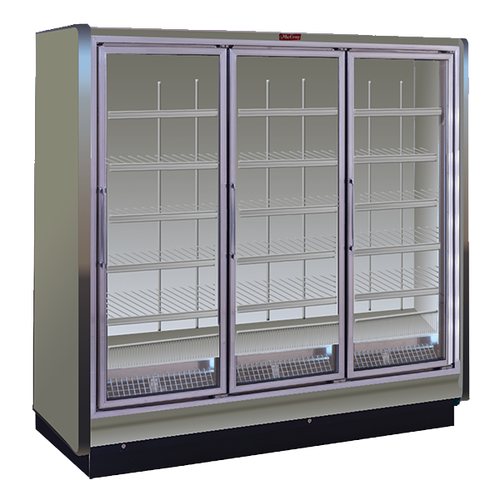 "Howard McCray Rin3-30-LED 98.5"" W Three-Section Glass Door Refrigerator Merchandiser"