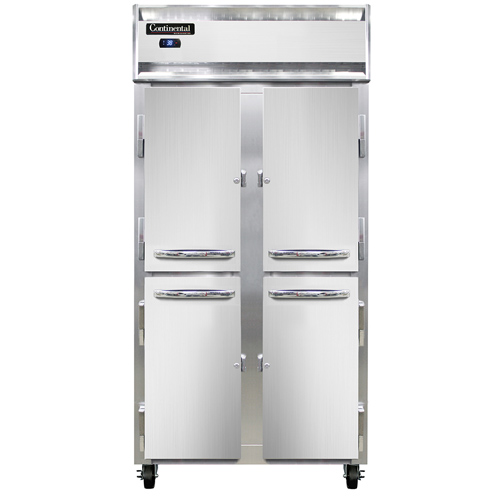 """Continental Refrigerator 2RSESNHD 36.25"""" W Two-Section Solid Door Reach-In Slim Line Refrigerator"""