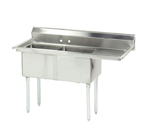 """Advance Tabco FE-2-2424-24R-X 73"""" - 90"""" 18-Gauge Stainless Steel Two Compartment Right Drain Special Value Fabricated Sink 24"""" x 24"""" x 14"""" Deep"""