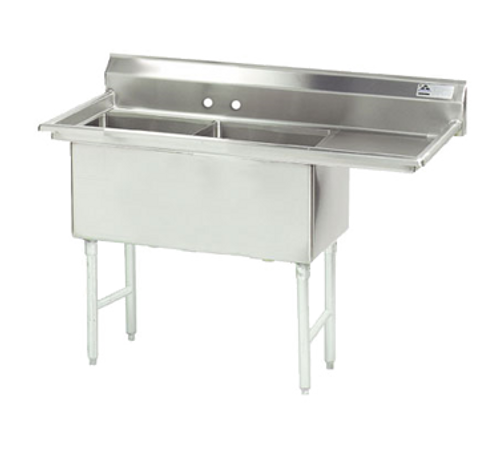 """Advance Tabco FC-2-2424-18R-X 63"""" - 72"""" 16-Gauge Stainless Steel Two Compartment Right Drain Fabricated Sink 24"""" x 24"""" x 14"""" Deep"""