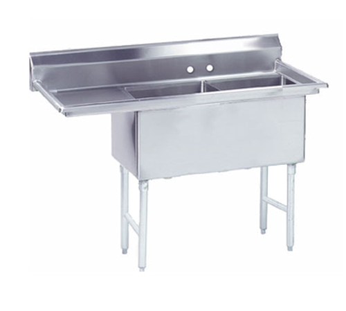 """Advance Tabco FC-2-1620-18L-X 40"""" - 53"""" 16-Gauge Stainless Steel Two Compartment Left Drain Fabricated Sink 16"""" x 20"""" x 14"""" Deep"""