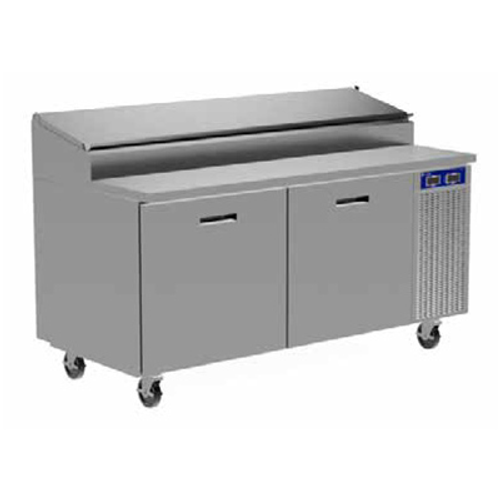 """Randell 8260N-290-PCB 60"""" W Two-Section Two Door Two Door Refrigerated Raised Rail Prep Table"""