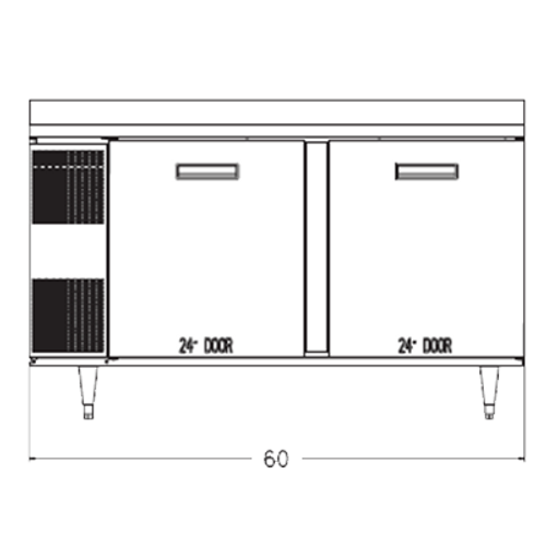 """Randell 9205-513 60""""W Two Door Stainless Steel Refrigerated Counter/Work Top"""