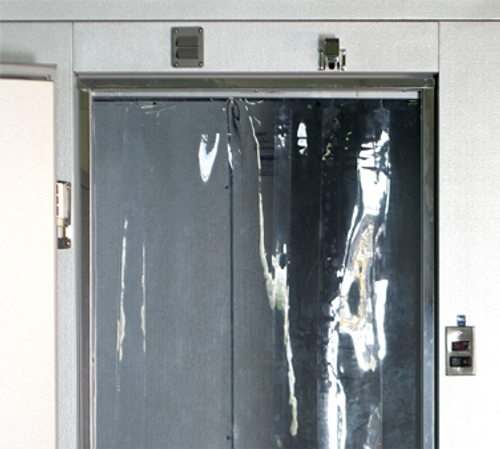 "AmeriKooler 402LA6065190@CF 48"" x 84""  Plastic Strip Curtain For Hinged Door Clear Opening"