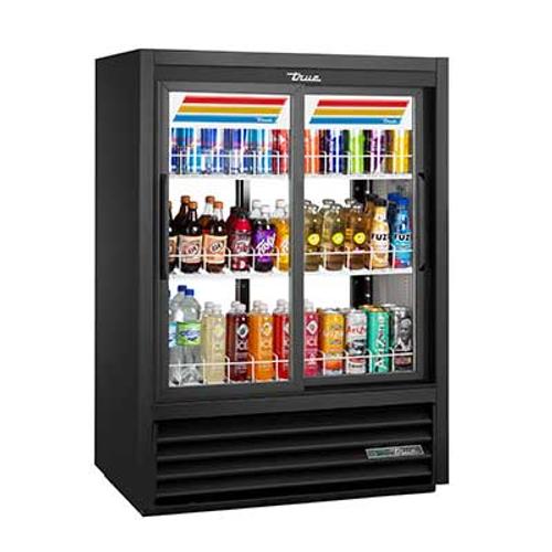 "True GDM-33CPT-54-HC-LD 39.5"" W Two-Section Glass Door Pass-Thru Refrigerated Merchandiser"