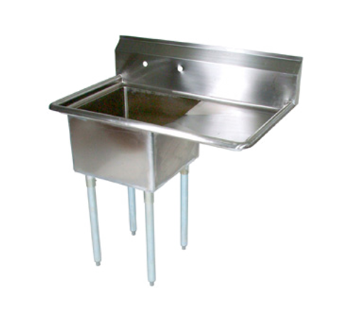 """John Boos E1S8-1824-14R24 40"""" - 53"""" 18-Gauge Stainless Steel One Compartment E-Series Sink With Right-Hand Drainboard 14"""" Deep"""
