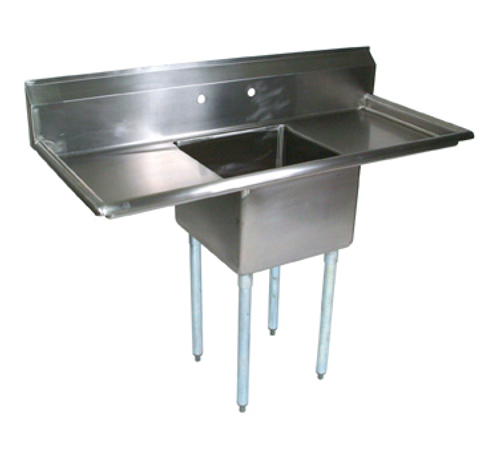 """John Boos E1S8-18-12T18 54"""" - 62"""" 18-Gauge Stainless Steel One Compartment Left & E-Series Sink With Left & Right-Hand Drainboards 12"""" Deep"""
