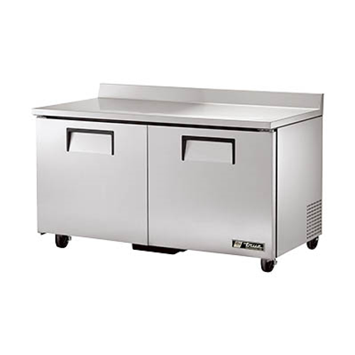 """True TWT-60-HC 60.38""""W Two-Section Stainless Steel Door Work Top Refrigerator"""