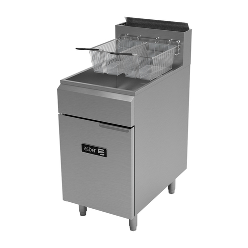 Asber AEF-75-S-NG Natural Gas Stainless Steel Fryer - 140,000 BTU