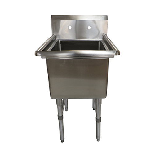 """NBR Equipment 1SS-181814 16-Gauge Stainless Steel One Compartment Premium Sink Without Drainboards 23-1/8"""" x 23-1/2"""" x 44-1/16"""""""