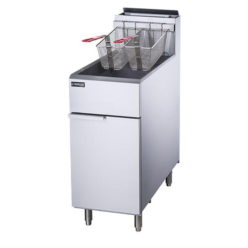 Dukers DCF3-NG 50 lb. Capacity Natural Gas Floor Model Fryer - 90,000 BTU