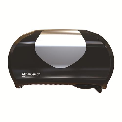 San Jamar R3670BKSS Black Plastic Versatwin Summit Bath Tissue Dispenser