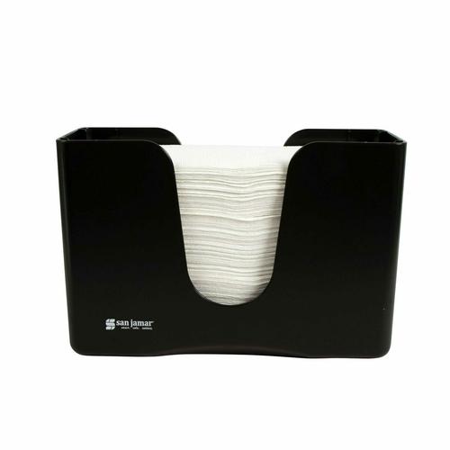 "San Jamar T1720TBK 11-1/4""W x 5""D x 8""H Black Plastic Countertop Towel Dispenser"