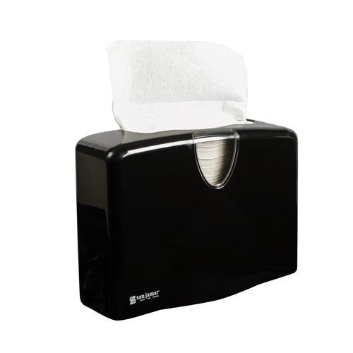 "San Jamar T1740BK 12""W x 5-1/2""D x 8-1/2""H Black Plastic Countertop Towel Dispenser"