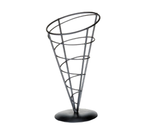 "TableCraft Products AC59 5"" W x 9"" H Vertigo Collection Black Powder Coated Metal Appetizer Cone Basket"