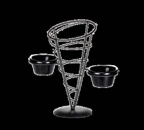 "TableCraft Products ACR259 5"" W x 9"" H Black Powder Coated Metal Vertigo Collection Appetizer Cone Includes 2 Ramekins"