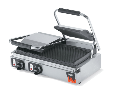 """Vollrath 40795-C Electric Double 19"""" W x 9 1/8"""" D Cooking Surface Fixed Grooved Lower Grill Cast Iron Plates Cayenne Italian Panini Sandwich Press - 208-240 Volts 2700-3600 Watts"""