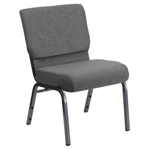 "Flash Furniture XU-CH0221-GY-SV-GG 21"" W x 33"" H x 25"" D Silver Vein Gray Hercules Series Extra Wide Stacking Church Chair"