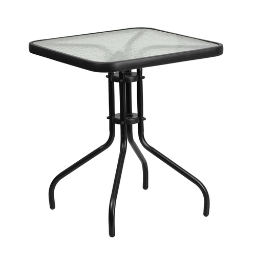 """Flash Furniture TLH-073A-1-GG 23.5 """" W x 28"""" H x 23.5"""" D Square 5mm Thick Tempered Glass Top Patio Table"""