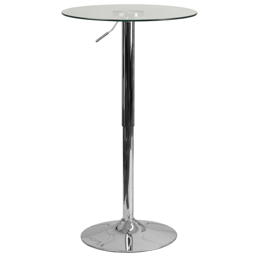 """Flash Furniture CH-5-GG 23-1/2"""" Dia. x 33-1/2"""" to 41"""" Round Adjustable Height Glass Table With Chrome Base"""