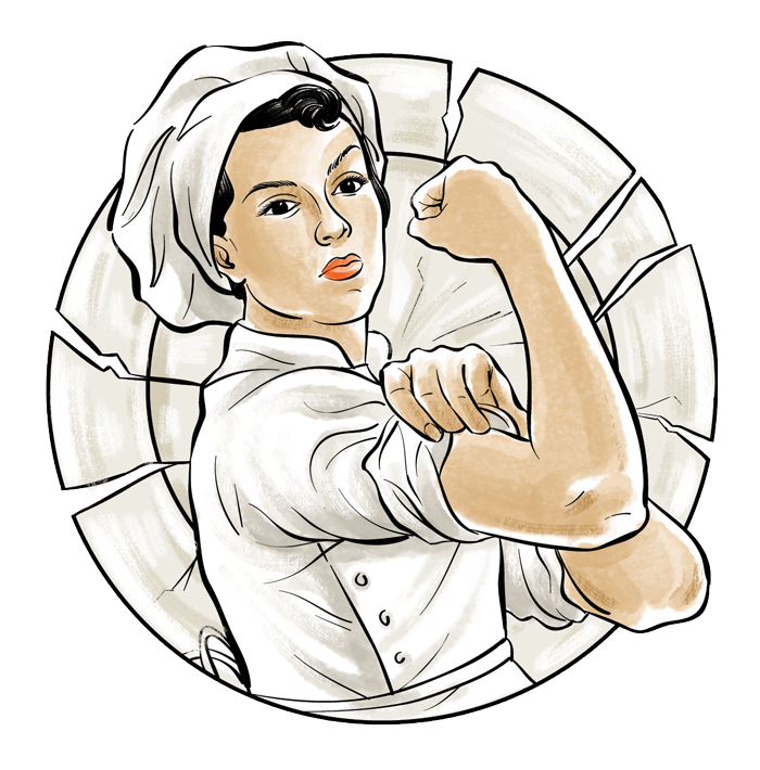 flexing female chef