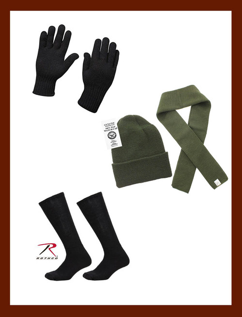 Rothco Winter Essentials Pack - Wool Cap, Scarf, Boot Socks & Gloves