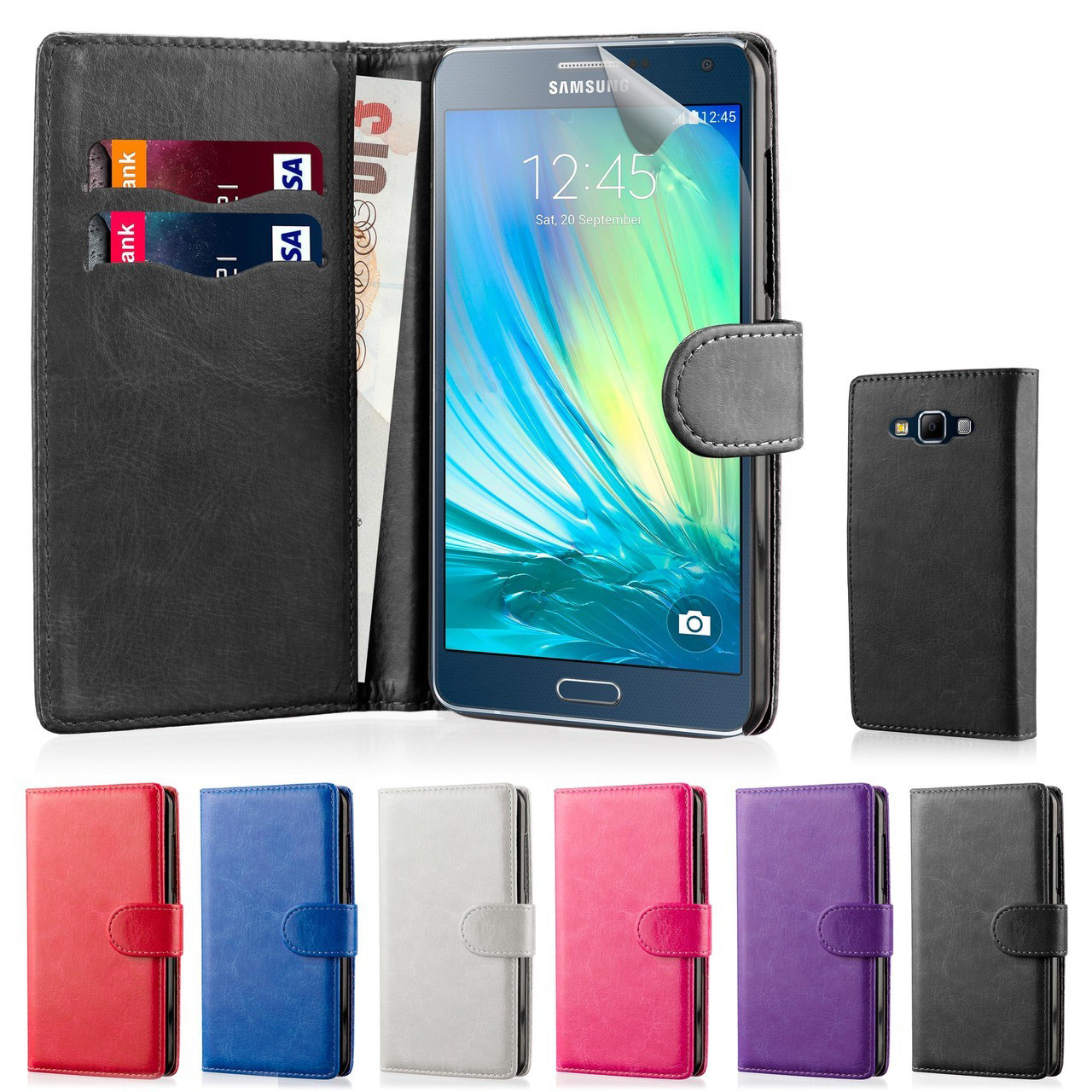 buy online 02e64 a727e Samsung Galaxy A5 (2015) PU Leather Book Wallet Case