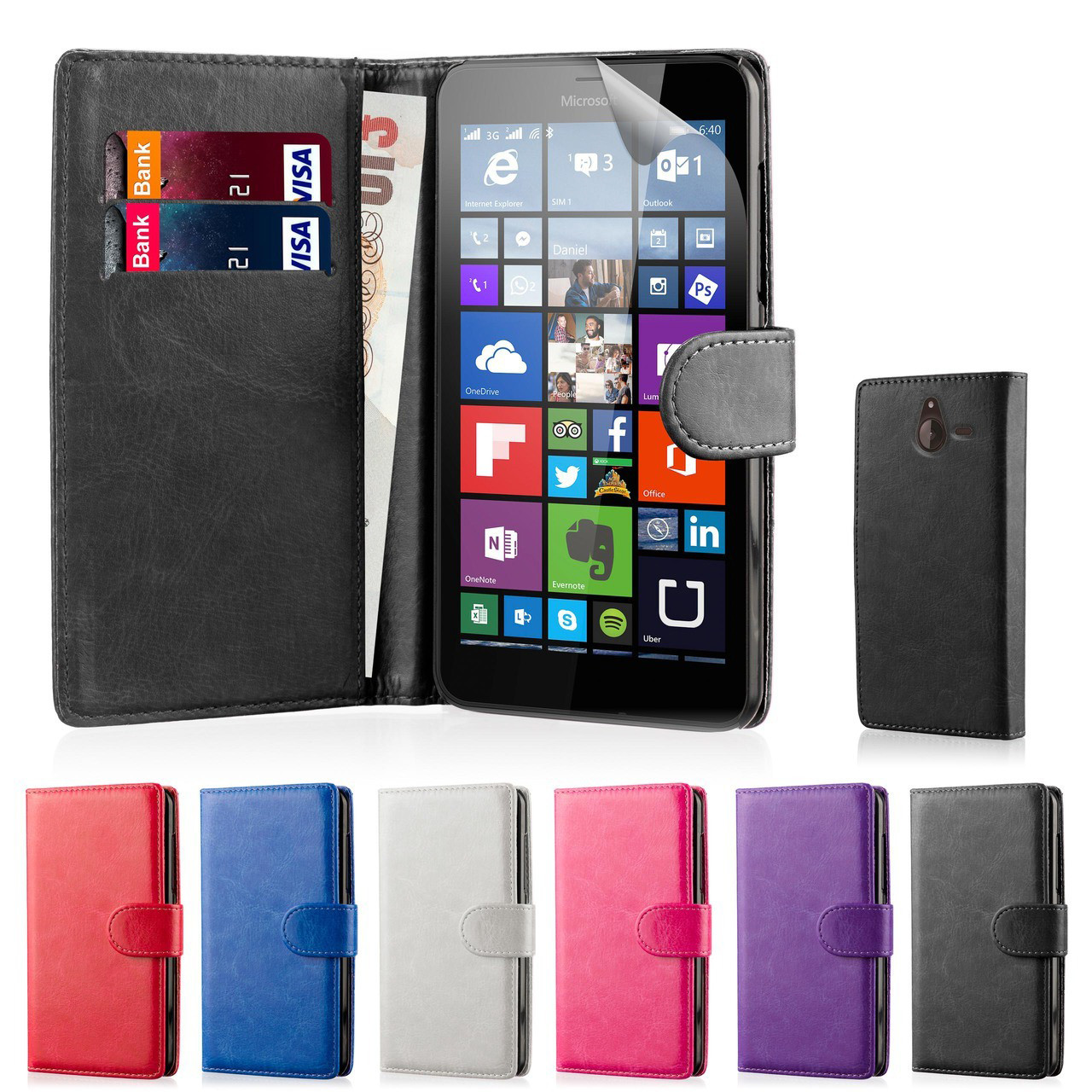 quality design 04c4c 74e0f Microsoft Lumia 640 PU Leather Book Wallet Case
