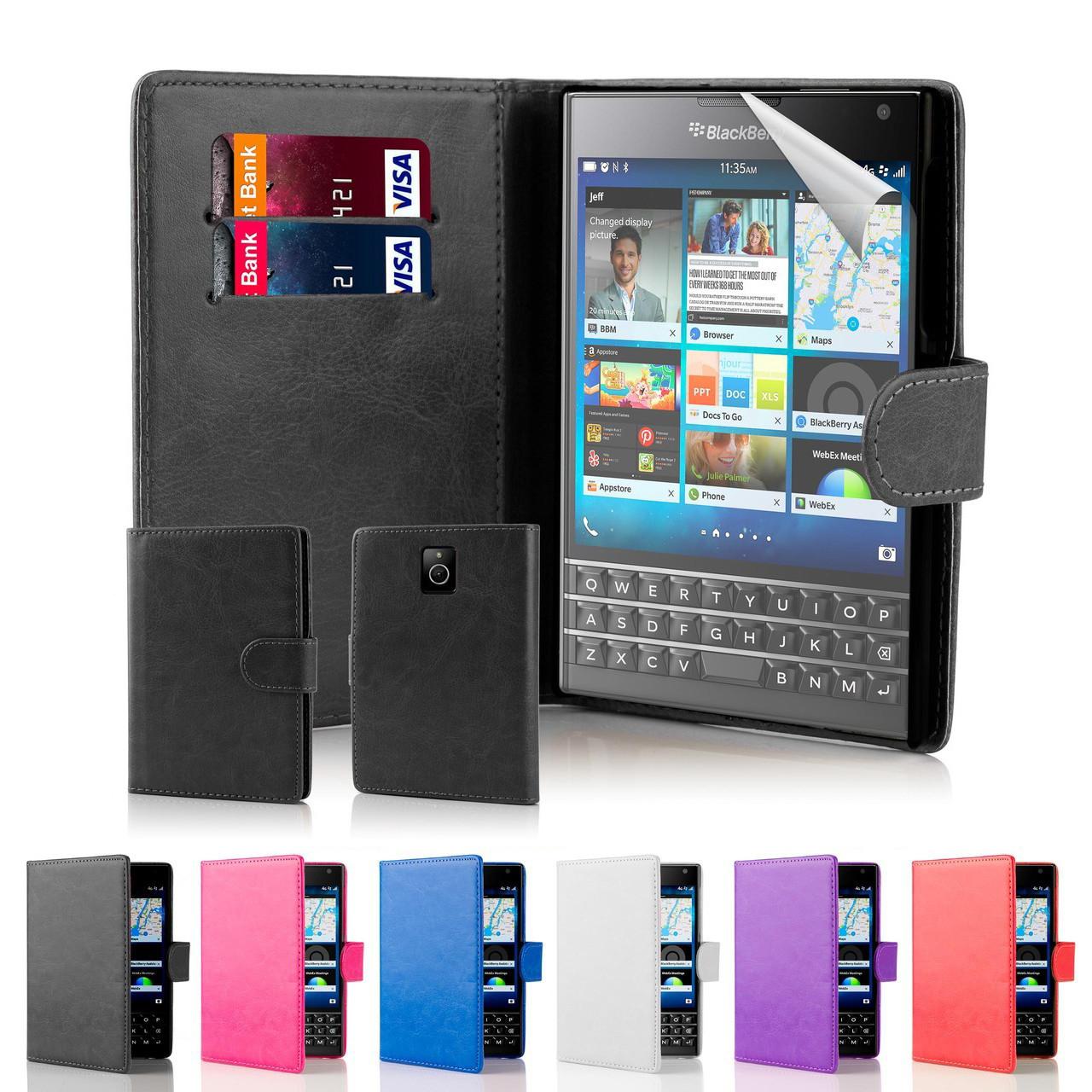 buy popular f26c5 596fb BlackBerry Passport PU Leather Book Wallet Case