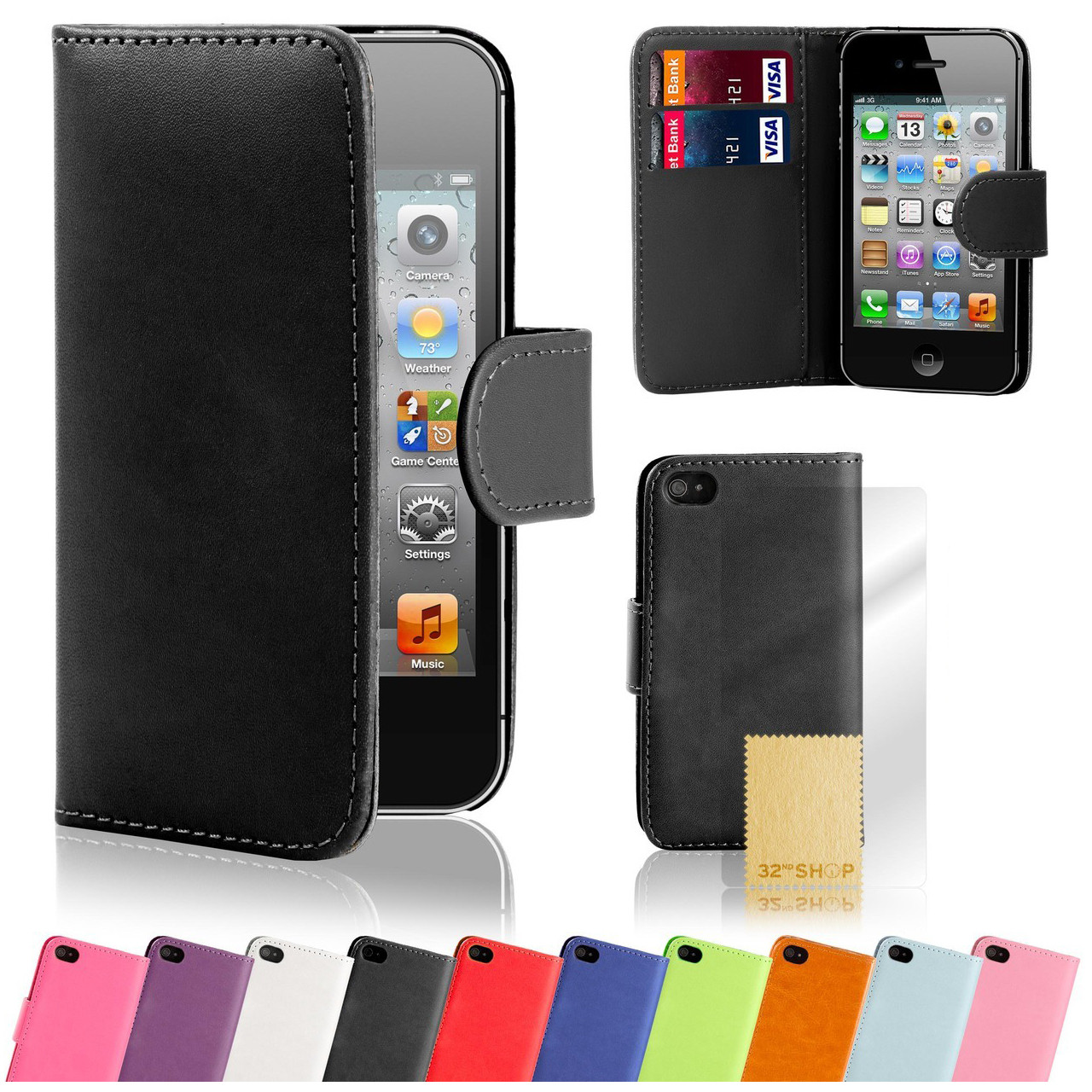 sports shoes aca41 08c3e Apple iPhone 4/4S PU Leather Book Wallet Case