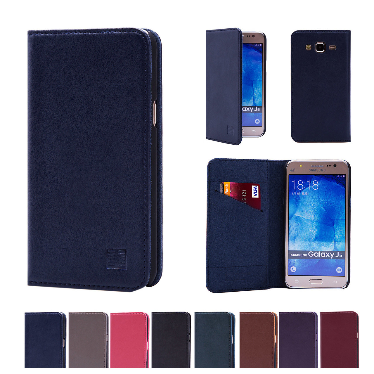 newest a2bd8 e27ed Samsung Galaxy J5 (2015) Classic Real Leather Book Wallet Case
