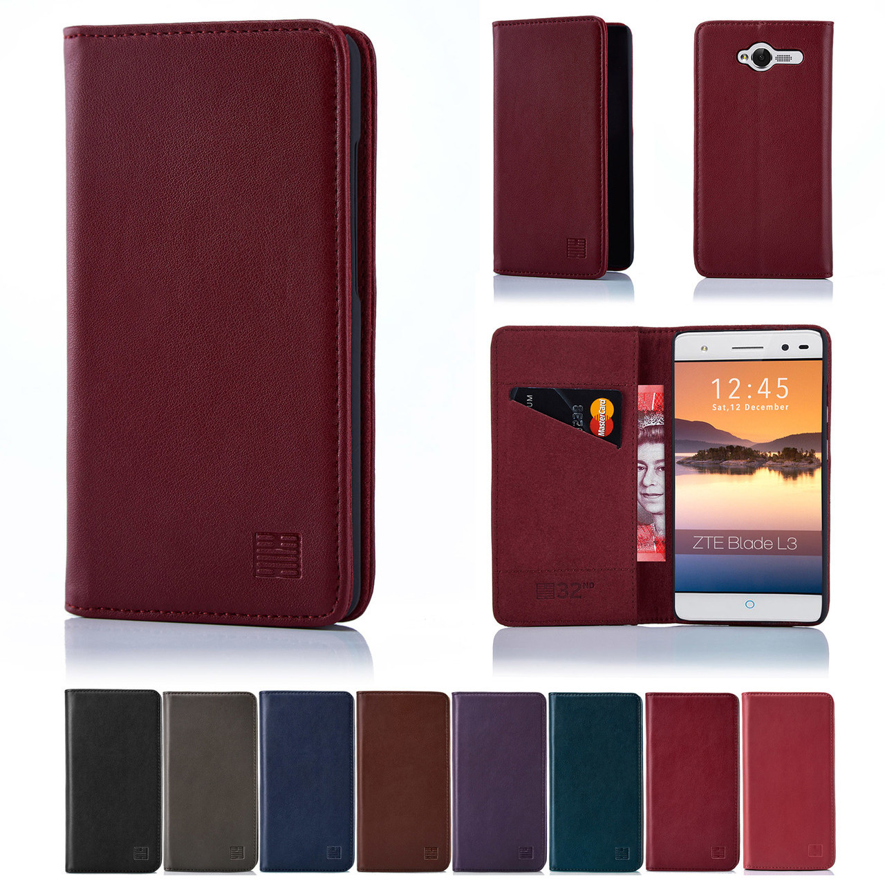 new product dfc27 07b49 ZTE Blade L3 Classic Real Leather Book Wallet Case