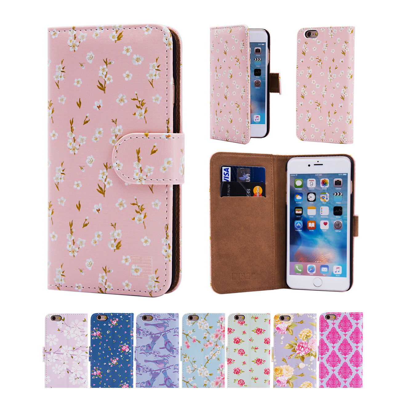 differently bfed7 19401 Apple iPhone 6/6S PU Leather Floral Design Book Wallet Case