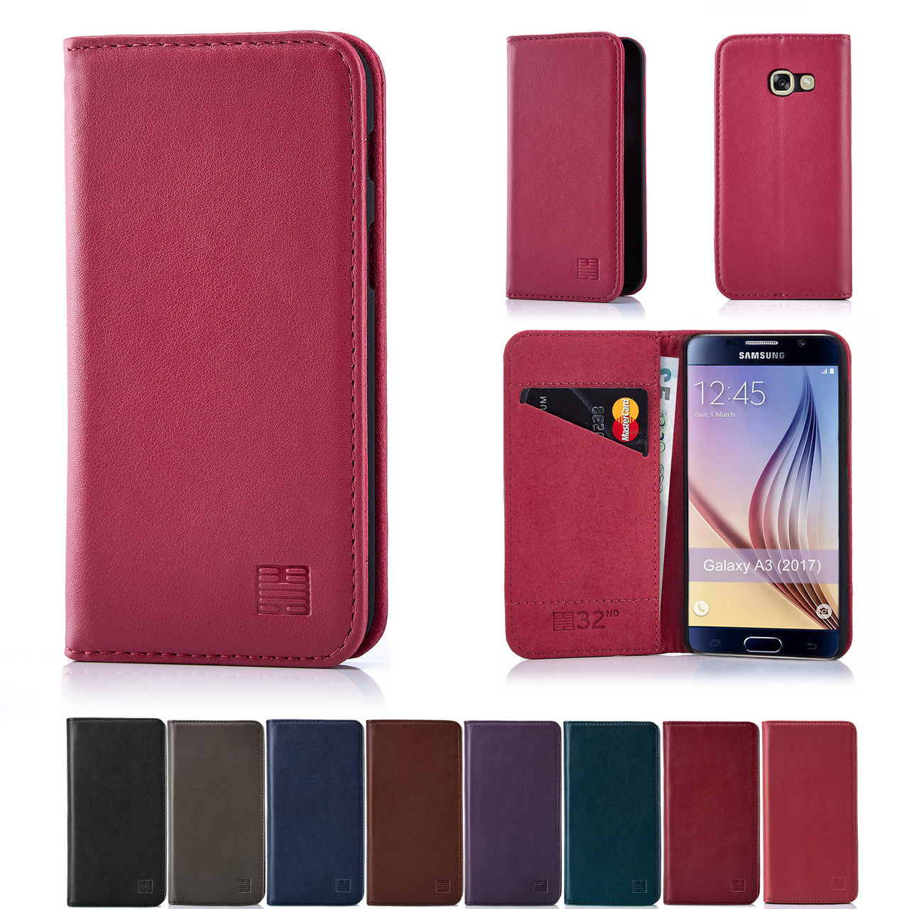 half off 57b0b 336c4 Samsung Galaxy A3 (2017) Classic Real Leather Book Wallet Case