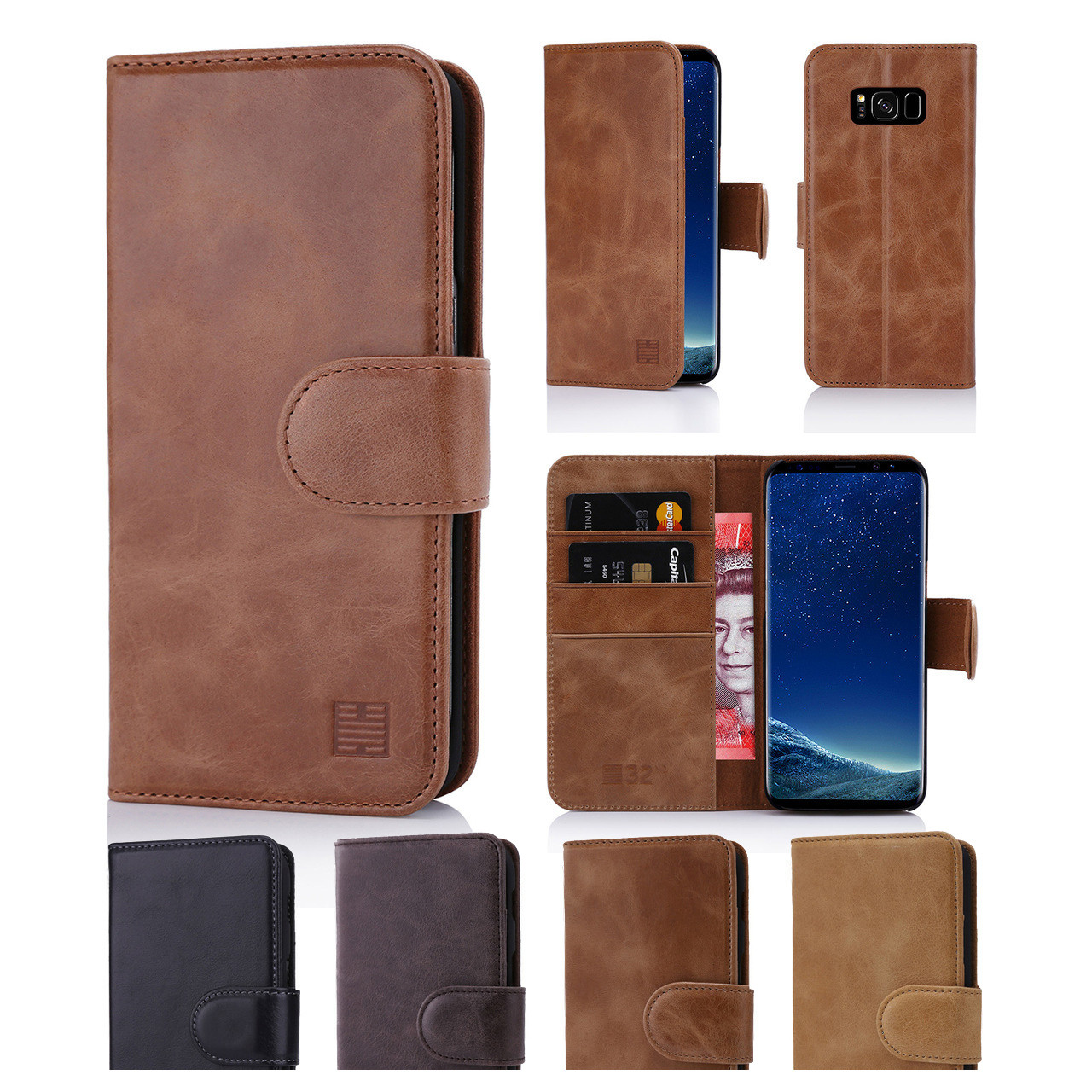 check out ac63e 09403 Samsung Galaxy S8 Plus Premium Leather Book Wallet Case