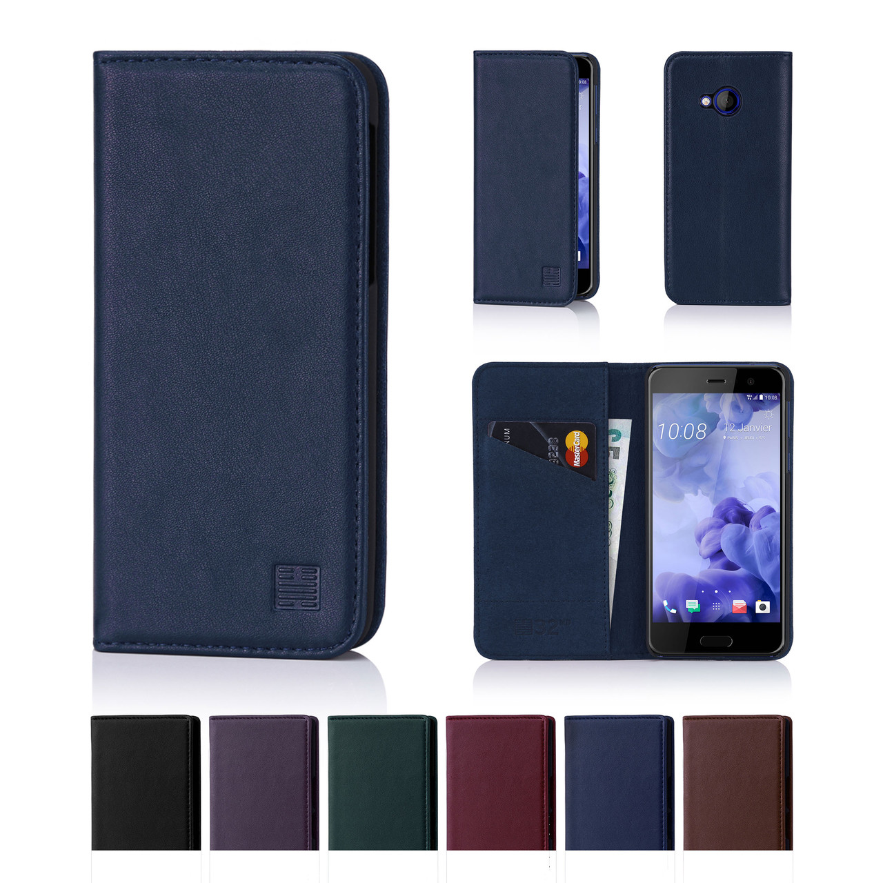 c0f22f49638c16 32nd real leather classic wallet HTC U Play Case in a range of fantastic  colours.