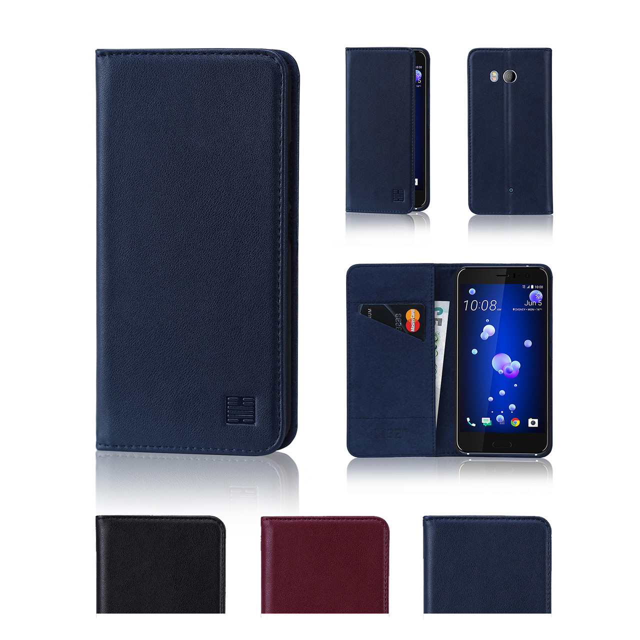 quality design e0fe9 aac03 HTC U11 Classic Real Leather Book Wallet Case