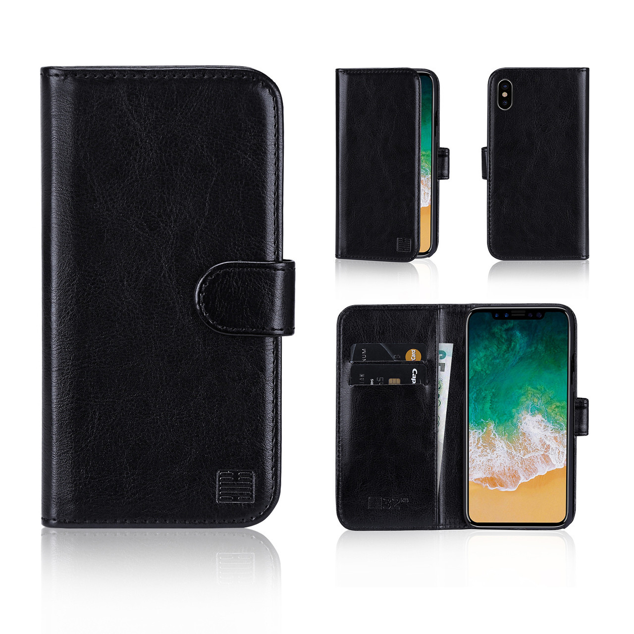 reputable site d1285 8b9b8 Apple iPhone X / XS PU Leather Book Wallet Case - Black