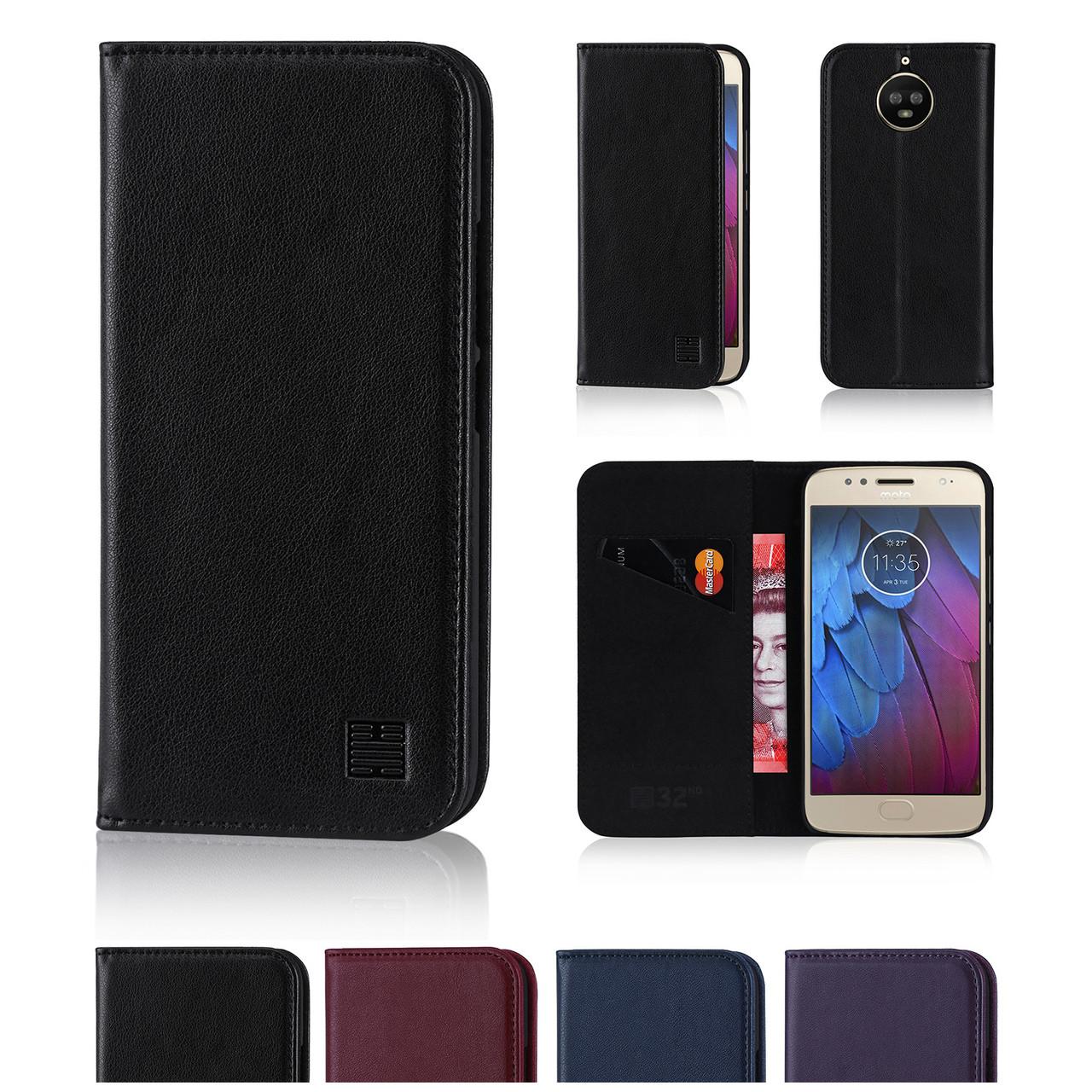 new style e1c0e b930d Motorola Moto G5S Plus Classic Real Leather Book Wallet Case