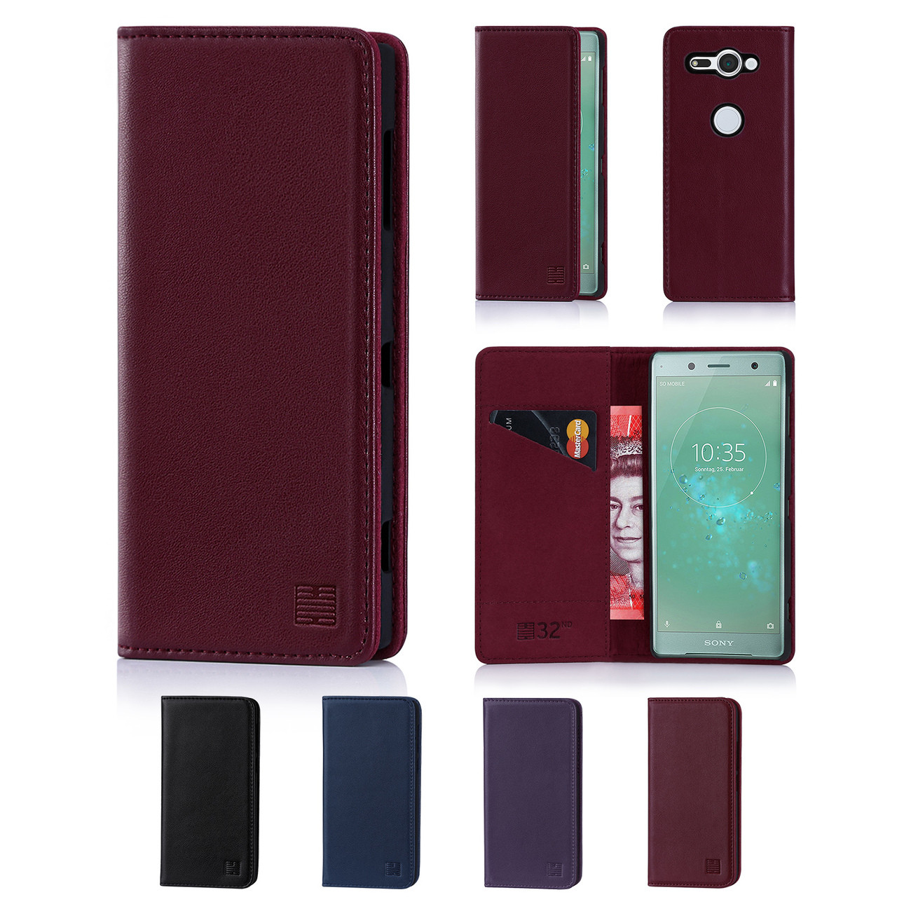 sneakers for cheap 4c15d 05b82 Sony Xperia XZ2 Compact Classic Real Leather Book Wallet Case