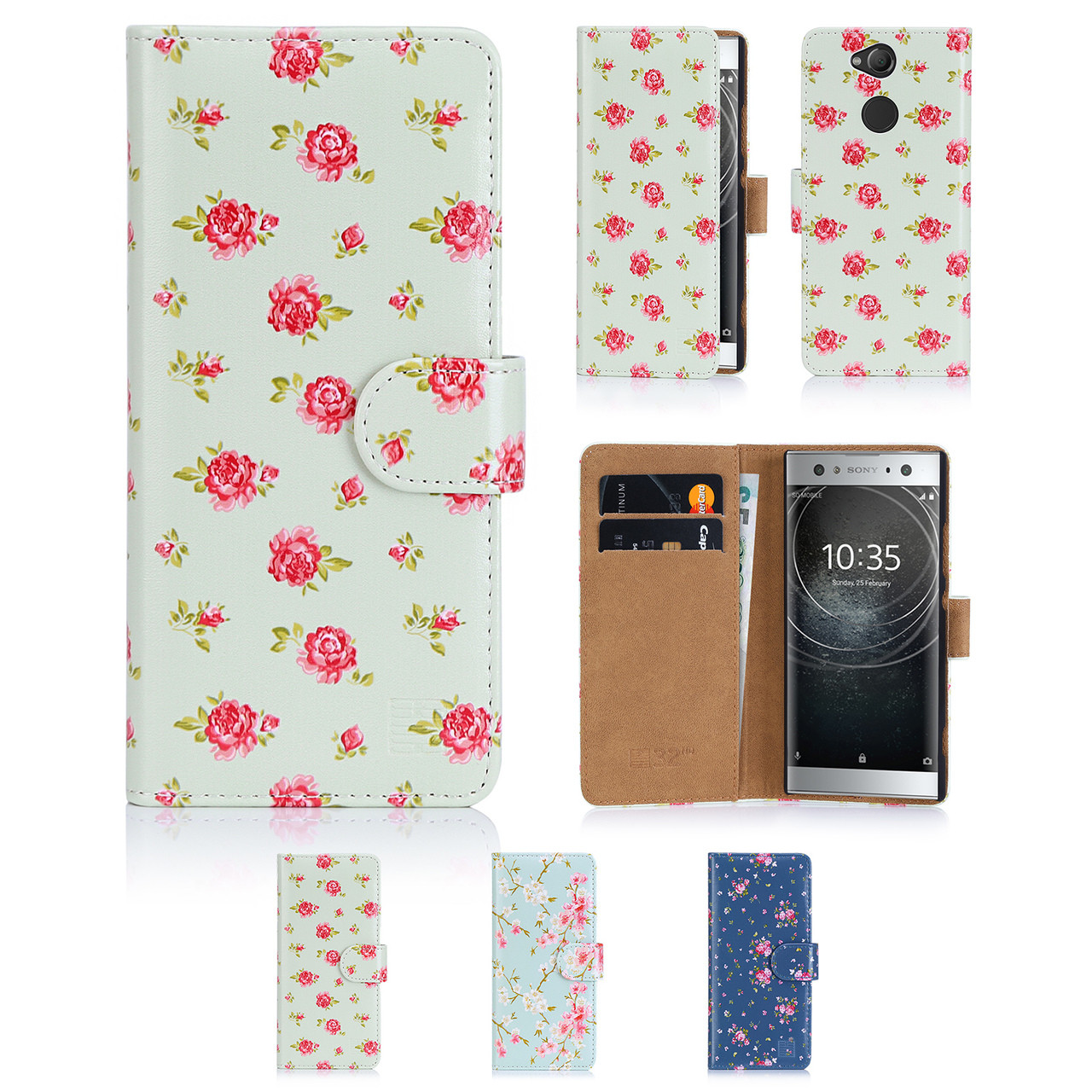 sports shoes 50eac b48d4 Sony Xperia XA2 Ultra PU Leather Floral Design Book Wallet Case