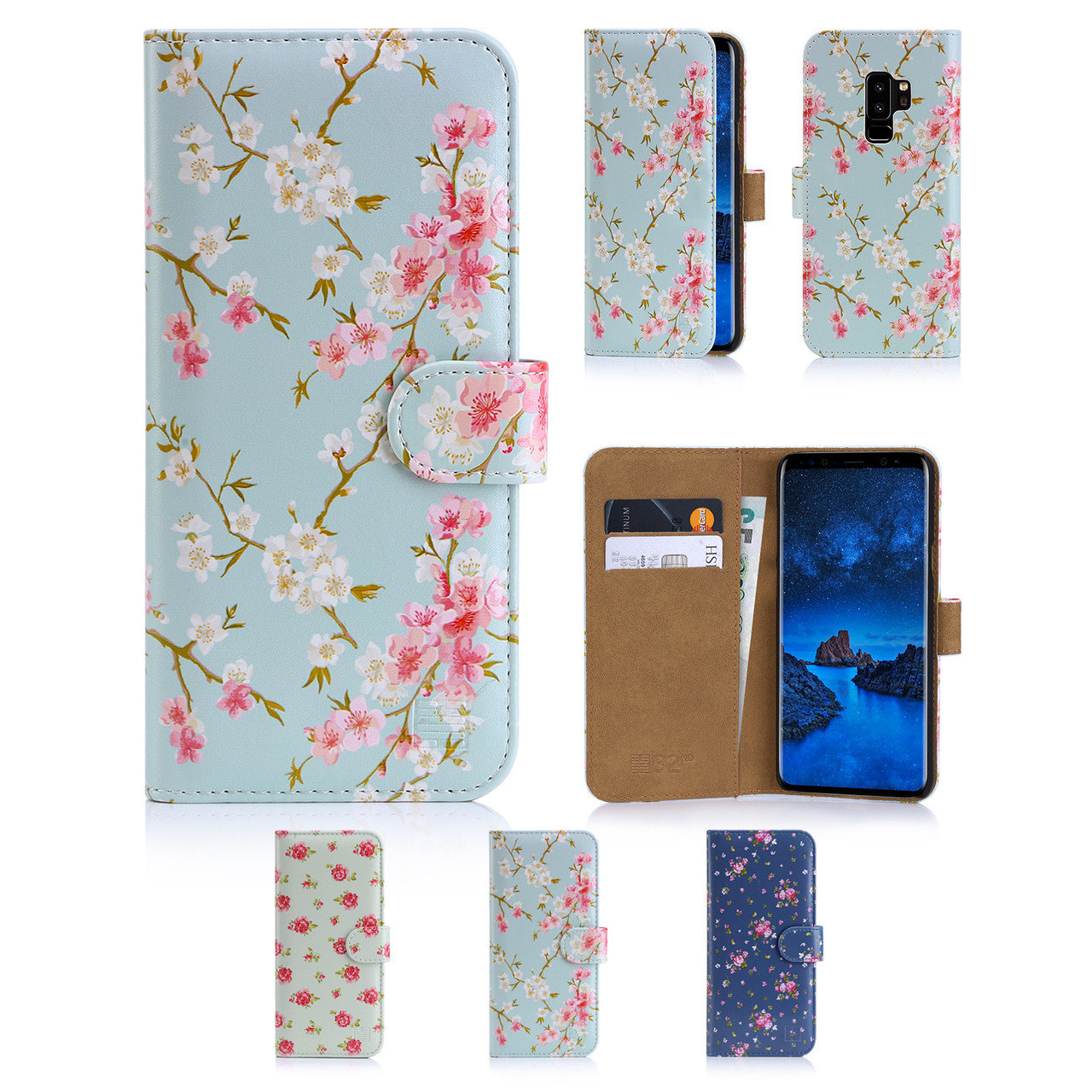 sneakers for cheap 00fba 5ecb1 Samsung Galaxy S9 Plus PU Leather Floral Design Book Wallet Case