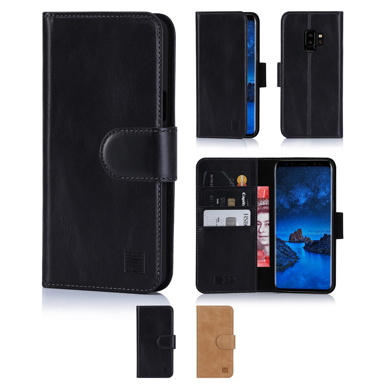 sale retailer 76f79 0a5f5 Samsung Galaxy S9 Plus Premium Leather Book Wallet Case