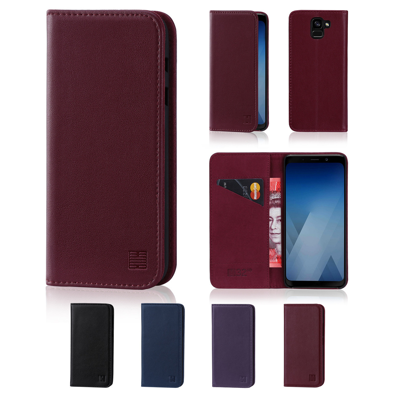 new concept 0956a 81ad2 Samsung Galaxy A8 (2018) Classic Real Leather Book Wallet Case