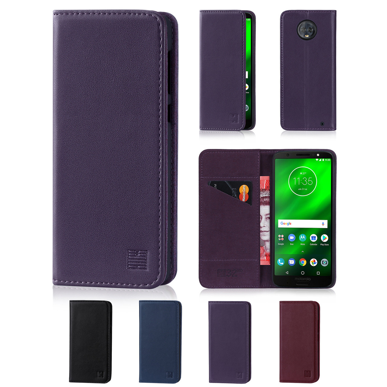 official photos c6bf3 1b363 Motorola Moto G6 Plus Classic Real Leather Book Wallet Case